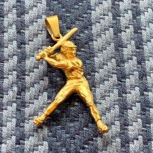 Gold baseball batter pendant